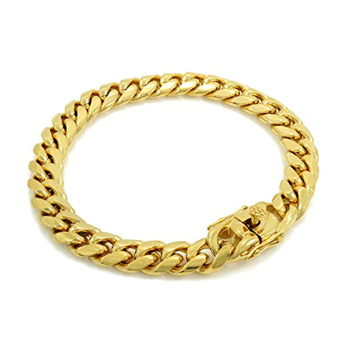 Solid 14k Yellow Gold Finish Stainless Steel 10mm Thick Miami Cuban Link Chain Box Clasp Lock (Bracelet 10'') 14k Yellow Mens Link Bracelet