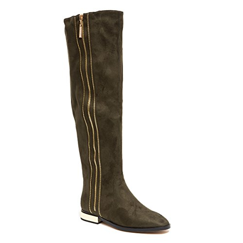 Metallic Trim Boot - Lady Couture Knee Height Boot with Side Zipper and Metallic Trim, Uptown Olive 40