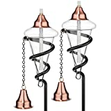 H Potter Glass Torches - Garden Patio Deck - Copper Tops - Set of Two - Landscape Outdoor Lighting
