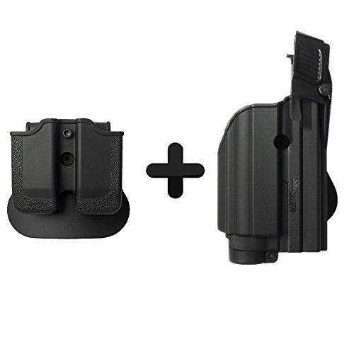 (IMI Defense Z1500 Light Laser Roto Holster & Double Magazine Pouch For Sig Sauer P226, P229 Pro, 2022, P250 Compact / Full size, MK25)
