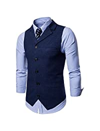 Men's Business Suit Vest Jacket Slim Fit Casual Party Skinny Dress Separate Waistcoat