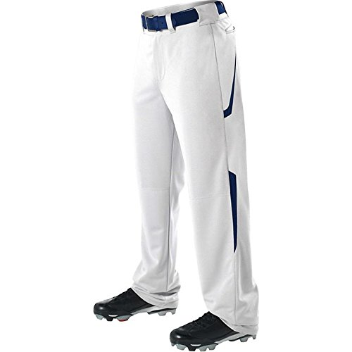 Alleson Youth Relaxed Fit - 2 Color Open Bottom Baseball Pants - White/Navy - Large ()