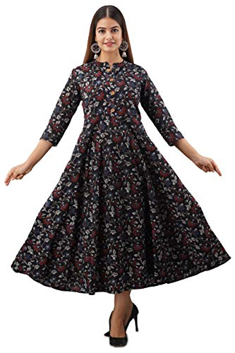 Women Touch Women's Printed Black Pure Cotton A-Line Kurta, Casual Floral Print Kurti for Girls,Ethnic Dress (Black)