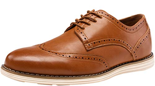 (VOSTEY Men's Dress Shoes Wingtip Brogue Oxford Classic Business Shoes (11.5,Yellow Brown))
