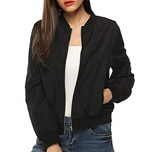 DONTAL Ladies Womens Bomber Jacket Classic Quilted Jacket Short Coat Zip Outwear Autumn Black