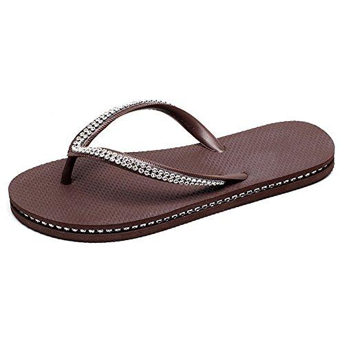 fondo piatto sandali pantofole dimensioni CN36 A C Donna sandali Moda trapano UK4 antiscivolo estate ZHIRONG EU36 impermeabili a Colore catena q8SwzP