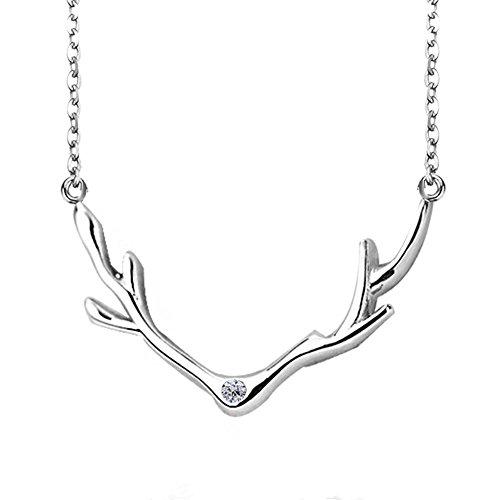 - 925 Sterling Silver with Cubic-Zircon Deer Elk Antlers Pendant Collar Necklace LSN100