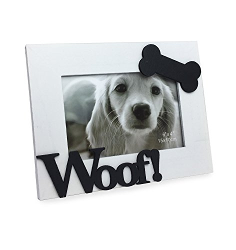 Isaac Jacobs Wood Sentiments Dog Woof! Picture Frame, 4x6 Inch (White) ()