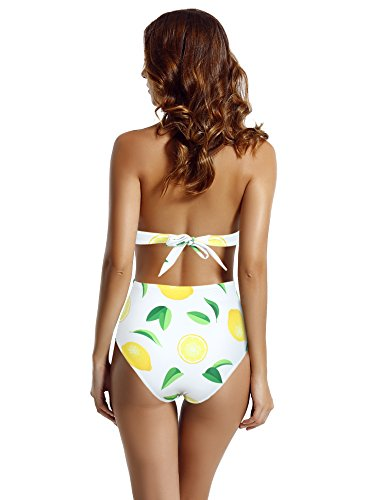 ba39e301140c7 zeraca Women s Plus Size Surplice Neckline High Waisted Halter One Piece  Monokini Swimsuit (Lemon