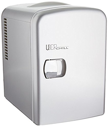 - Uber Appliance UB-CH1 Uber Chill Mini Fridge 6-can portable Thermoelectric Cooler and Warmer mini fridge for bedroom, office or dorm (Gun Metal silver)