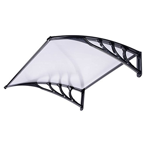 3ft Outdoor Clear PC Awning Canopy Window Door Black by LASHOP