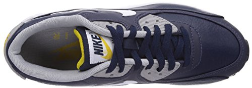 Nike Air Max 90 Leather, Men's Trainers Blue (Obsidian/White/Wolf Grey/Gold Ld)