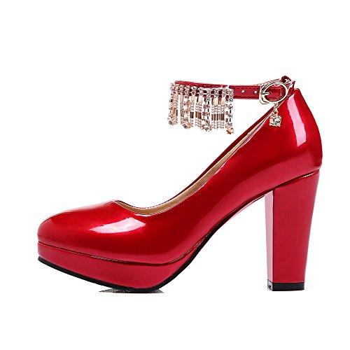 AgooLar Damen PU Rein Schnalle Rund Zehe Hoher Absatz Pumps Schuhe Rot