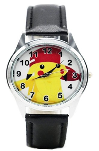 Pokeman Pikachu Character with Red Hat Genuine Black Leather Band Wrist Watch