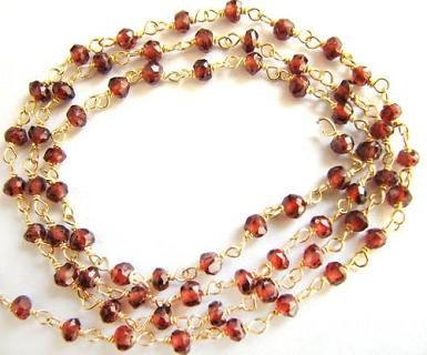10 feets Garnet Rosary Chain Red Beads Gold Vermeil Wire Rosary Chain 3.5mm Semiprecious Faceted Gemstone (Rosary Beads Semiprecious)
