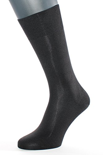 ALBERT KREUZ men's black luxury business socks of 98% silk – Made in Germany EU 42-44 / US 9-11