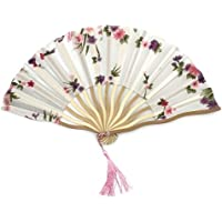 Skuleer(TM) 1pcs Dancing Wedding Party Decor Fan Chinese Japanese Flower Blossoms Folding Carved Hand Fan with Tassel for Gift[ 3 ]