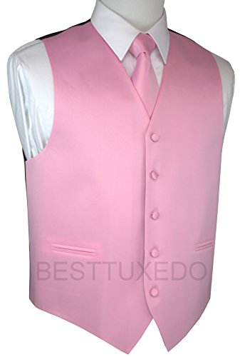 Brand Q Men's Tuxedo Vest, Tie & Pocket Square Set-Pink-S
