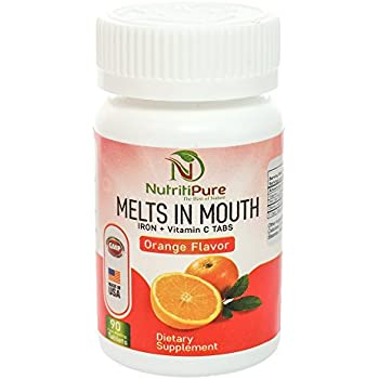 Chewable Iron 18 mg with Vitamin C 30 mg Supplement Tablet in Orange Flavor 90 Count