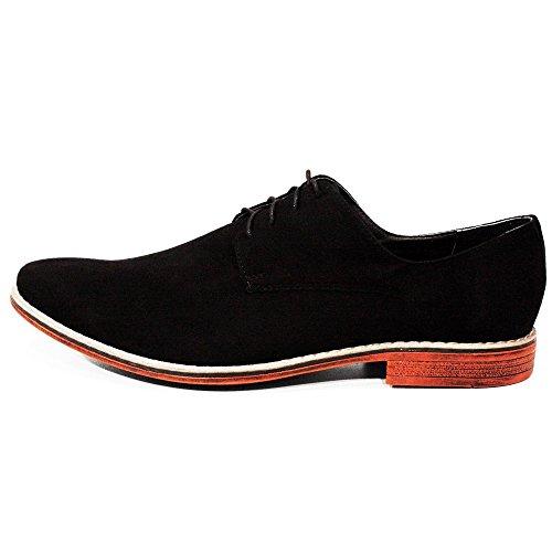 Modello Panteone - Cuero Italiano Hecho A Mano Hombre Piel Negro Zapatos Vestir Oxfords - Cuero Ante - Encaje