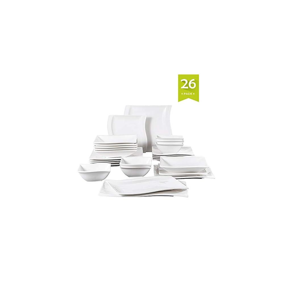 MALACASA, Series Flora, 26-Piece Dinner Set