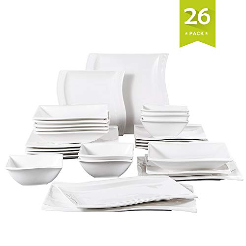 - Malacasa, 26-Piece Porcelain Dinnerware Set Ivory White China Ceramic Dinner Set with Cups Saucers Dessert Plates Soup Plates and Dinner Plates Dinnerware Set Service for 6