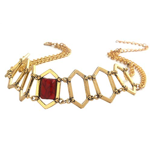 WeizhaonanCos Thrones Melisandre Inspired Red Gold Choker Necklace Replica Prop for -