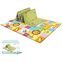 Baby Play Mat LDPE Foam Floor Gym Children Mats,Portable Baby Play Mat,Tummy Time Folding Reversible Baby Mats for…
