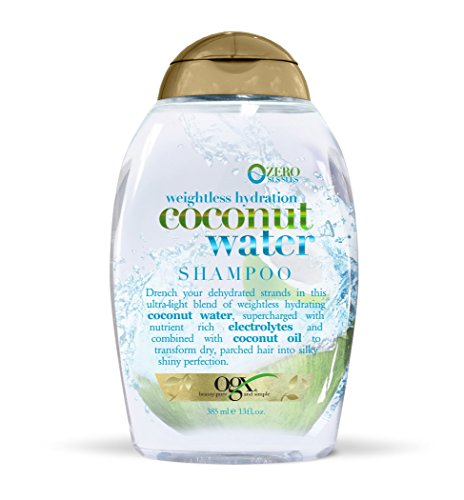 13 Ounce Shampoo (OGX Weightless Hydration Coconut Water Shampoo, (1) 13 Ounce Bottle, Paraben Free, Sustainable Ingredients, Lightweight and Hydrating and Shining with Electrolytes)