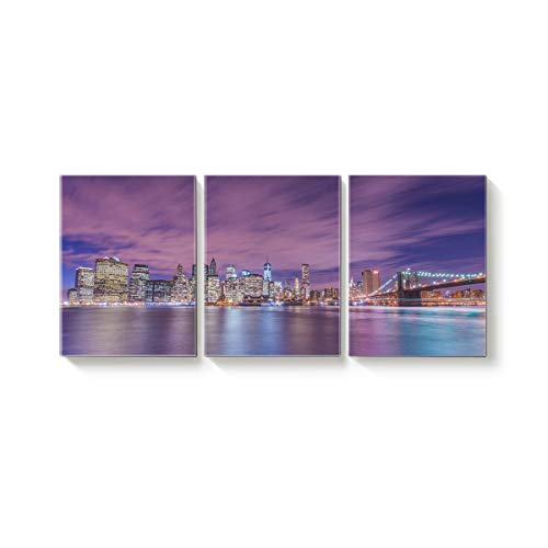 3 Panel Modern Canvas Wall Art Home Decor American Cities at Night and Skyscrapers Oil Painting Giclee Artwork for Wall Decor 12x16inx3