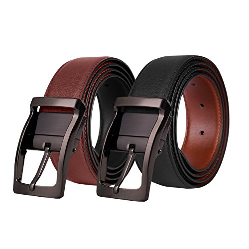 Mens Leather Belt,Reversible and Adjustable Belts for Man with Rotated Buckle(Black,40-42)