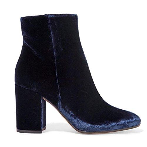 Chaussures de des Afficher artificiels Les Bohésiens Mme Hiver Banquet de d'automne Hauts Bottes PP Blue 0708FD Travail Dames Bottes Talons Cheveux tP6WqWxz
