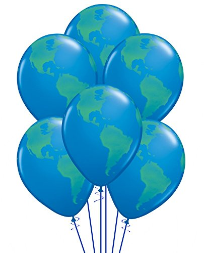 Qualatex Globe Biodegradable Latex Balloon, 11-Inch (12-Units)
