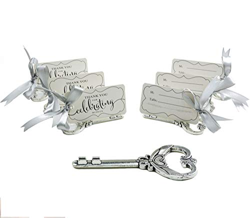 Aokbean 50pcs Multi Function Vintage Skeleton Key Bottle Opener Place Card Holders for Weddings Table Name Cards for Guest Souvenir French Ribbon (Antique Silver)