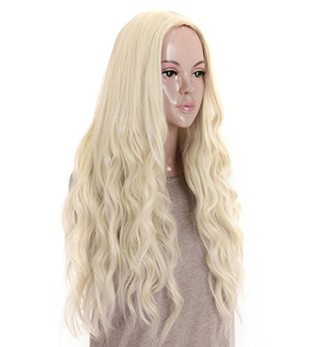 kalyss 24 inches Platinum Blonde Curly Wavy Heat Resistant Synthetic Hair Wigs for Women Middle Parting None Lace Front Hair Replacement Wigs]()