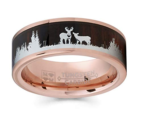 Metal Masters Co. Men's Rose Goldtone Tungsten Hunting Ring Wedding Band Wood Inlay Deer Stag Silhouette 14.5