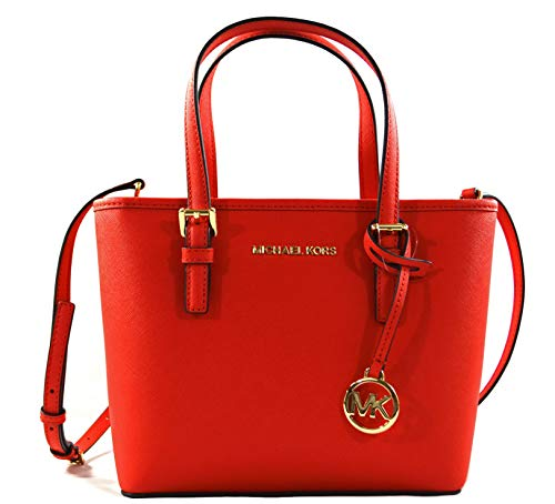 Michael Kors Jet Set Travel Small Carryall Convertible Top Zip Tote Saffiano Leather Crossbody Bag Purse Handbag (Dark ()