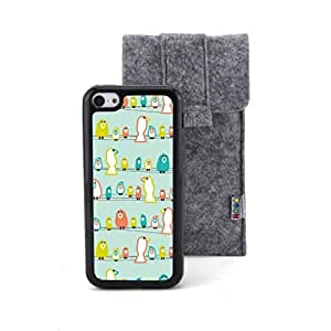 CaseCityLiu - Birds stand on the Line Cartoon Sweet Pattern Design Black Bumper Plastic+TPU Case Cover for Apple iPhone 5C Come With FREE Non Woven Packing Bag