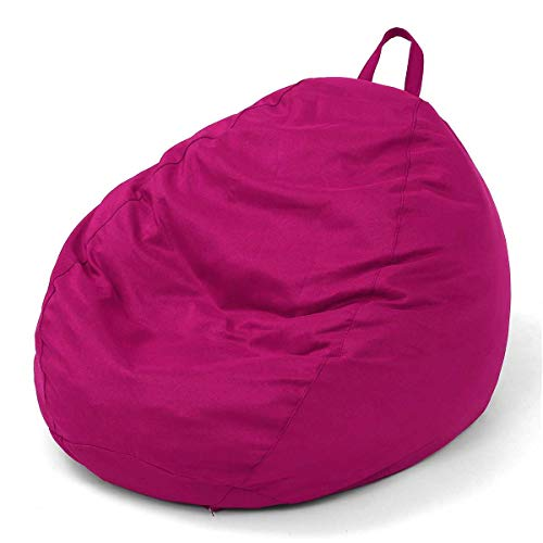Lazy Beanbag Sofas Cover Chairs Without Filler Linen Cloth Lounger Seat Bean Bag Living Room Pink ()