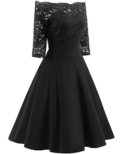 Women's Vintage Dresses Lace Floral Boat Neck 3/4 Long Sleeve Swing Dress A-Line Cocktail Party Prom (XXL, Black) ()