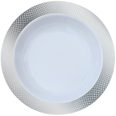 Royalty Settings Crystal Collection Party Package Plastic Plates for Weddings for 80 Persons, Includes 80 Dinner Plates, 80 Salad Plates, 160 Forks, 80 Spoons, 80 Knives, White with Silver Rim by Royalty Settings