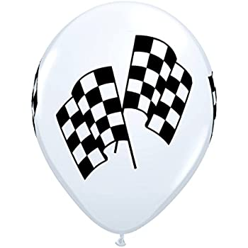 Qualatex Checkered Racing Flags Biodegradable Latex Balloons, 11-Inch (12-Units)