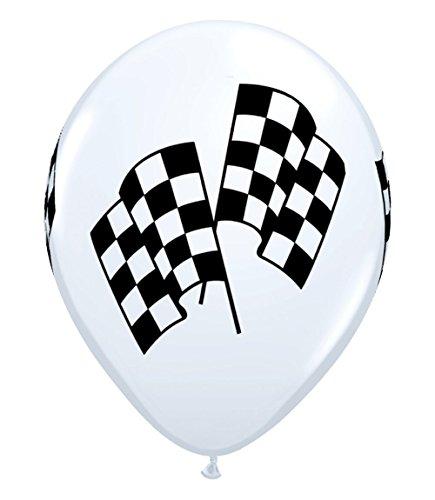 Balloons Racing (Qualatex Checkered Racing Flags Biodegradable Latex Balloons, 11-Inch (12-Units))