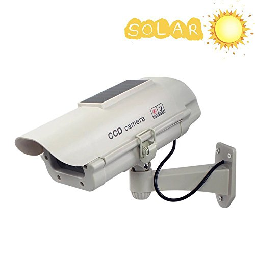 Relee Bullet Dummy Fake Surveillance Camera Security CCTV Dome Camera Outdoor with Solar Powered Light