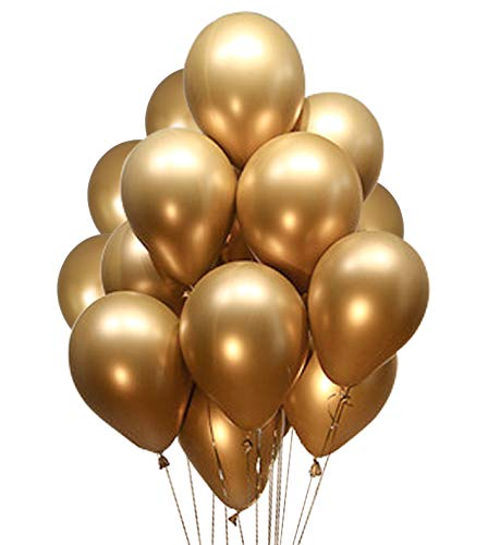 Fayoo Gold Balloons, 12'' Gold Metallic Latex Party Balloons for Party Decorations, Christmas Decorations, Birthdays, Bridal Shower, Valentine's Day, Graduation 50 pcs