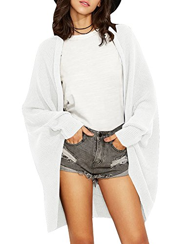 Valphsio Womens Dolman Cardigans Curved Cocoon Batwing Sleeve Open Front Chunky Knit Cardigans Sweater