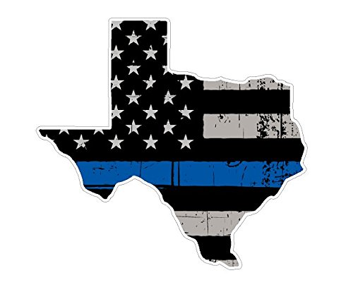 (Texas State (U2) Thin Blue Line Vinyl Yeti Tumbler Decal Sticker Laptop/Netbook)