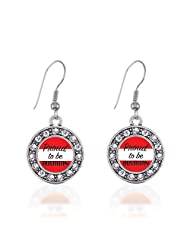 Proud to be Austrian Circle Charm Earrings French Hook Clear Crystal Rhinestones