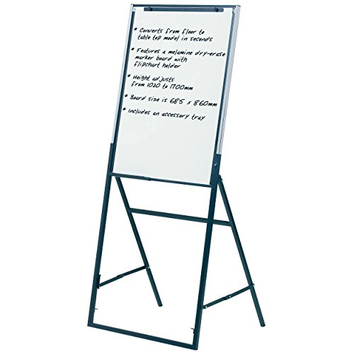 Quartet Futura Easel, Whiteboard/Flipchart, 24 x 36 Inches, Black Frame (351900) by Quartet