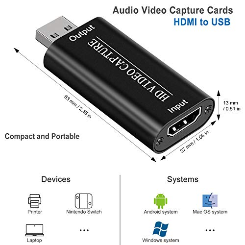 DIGITNOW Audio Video Capture Cards 4K 1080P HDMI to USB 2.0 Record to DSLR Camcorder Action Cam,Computer for Gaming, Streaming, Teaching, Video Conference, Broadcasting or Facebook Portal TV Recorder